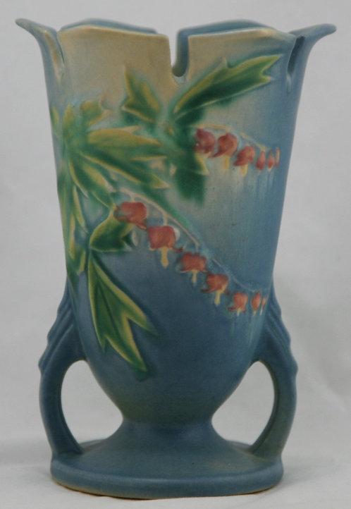 Roseville Bleeding Heart Vase W/Ornately Notched Rim In Blue Blushed Glaze 964-6