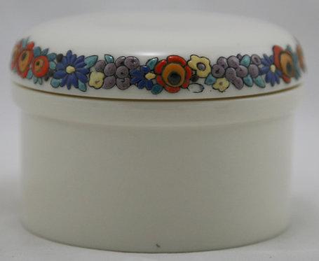 American Lenox Belleek China-painted Covered Jar Blossom/Berries Garland