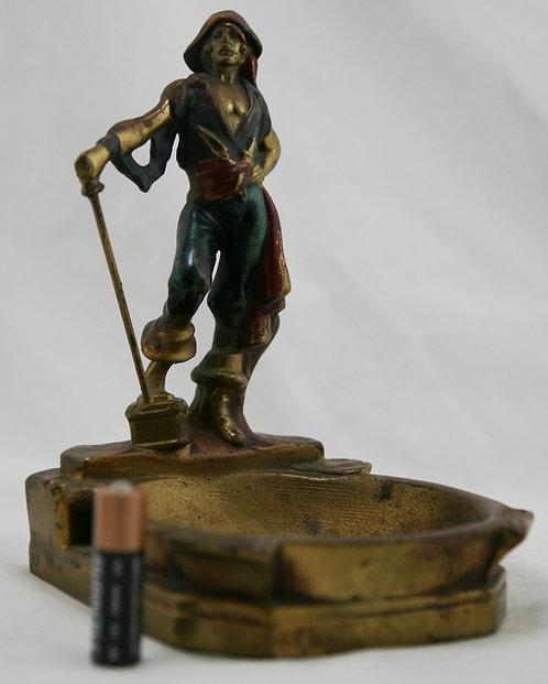 Pompeian Bronze 'Swashbuckler Pirate & Treasure' Polychrome Ashtray c1925