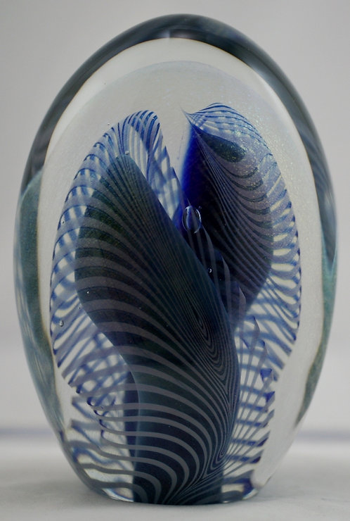 Eickholt Tall Ovoid Glass Paperweight d1984 Blue Ribbons Mint