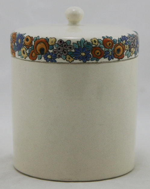 American Satsuma China-Painted Lidded Jar in A&C/Art Deco Blossom/Fruit Garland