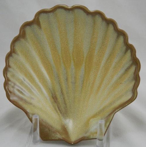 """Frankoma 7"""" Scallop/Sea Shell Dish In Desert Gold Glazes"""