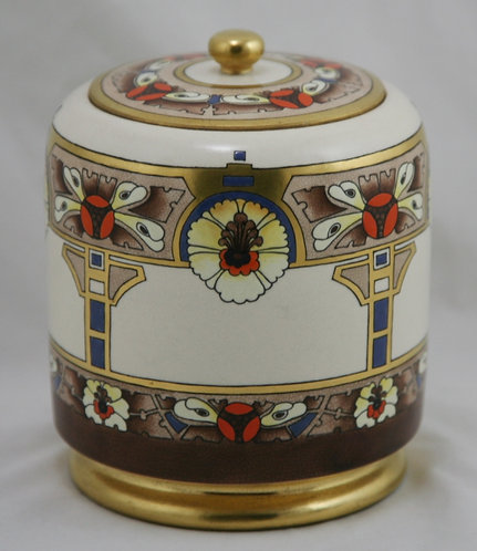 American Satsuma China-Painted Covered Jar in Arts &Crafts/Art Deco Gilded Decor