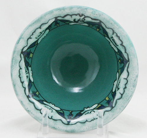 Paul Revere Pottery/S.E.G. Flared Bowl w/Lotus Blossoms Turquoise/Blue/White