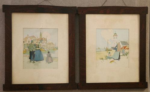 Gustav Stickley Custom Oak Wood Frames (2) c1904-1906/7