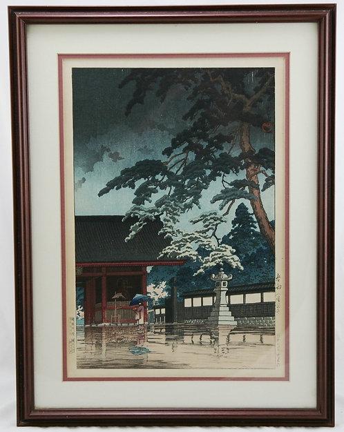 Kawase Hasui (1883-1957) 'Spring Rain at the Gokokuji Temple'