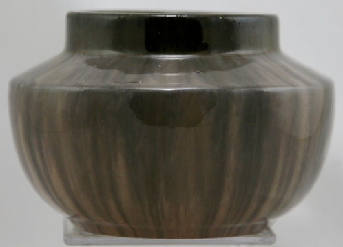 "Fulper Prang 4.5"" x 6.5"" Urn/Vase Mahogany/Cafe Au Lait Flambe Glaze Mint F650"