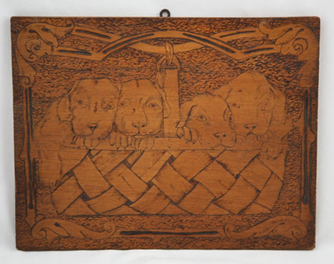 Flemish Art Co. NY Pyrography Wooden Plaque with Sweet Puppies in a Basket