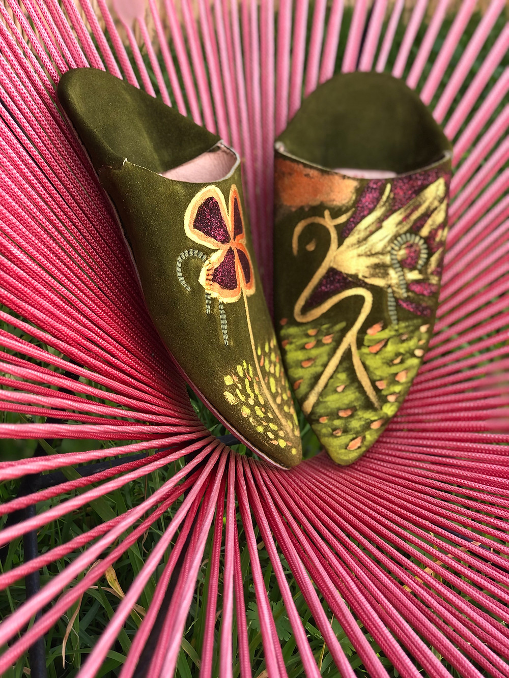 Lady Luck, Moroccan leather shoes handmade and hand-painted, created by Hind Hadri