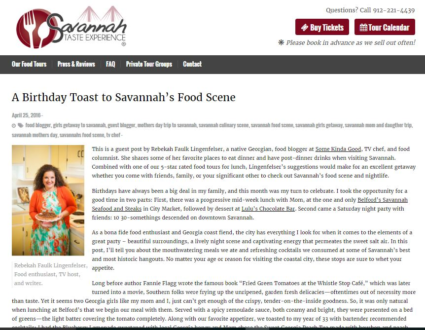 A Birthday Toast to Savannah Food