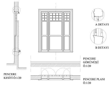 Ahşap Pencere Detayı - Öztek Mimarlık Restorasyon
