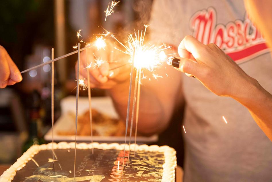 Lighting birthday candles