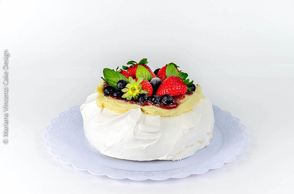 Doce artístico Pavlova de frutas vermelhas e cheesecake especial para o dia das mães tamanho 15 cm para a família