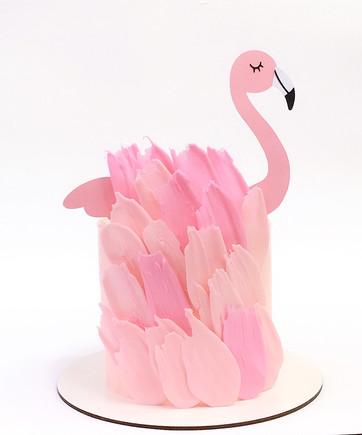 bolo espatulado elegante rosa flamingo