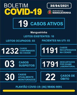 BOLETIM OFICIAL DO COVID-19 (30/04/2021)