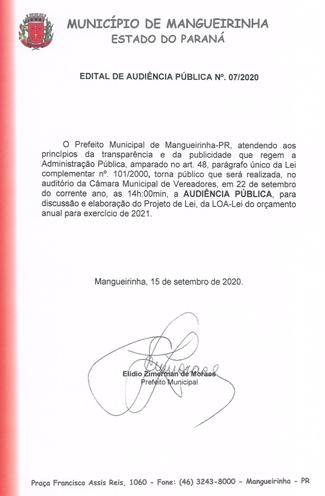 EDITAL DE AUDIÊNCIA PÚBLICA Nº. 07/2020