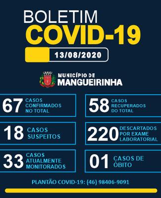 BOLETIM OFICIAL DO COVID-19 13/08/2020