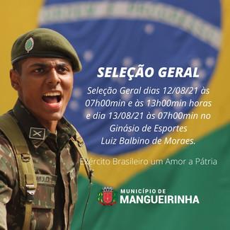 SELEÇÃO GERAL - EXÉRCITO BRASILEIRO.