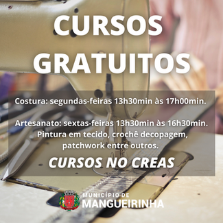 CREAS OFERECE CURSOS DE COSTURA E ARTESANATOS GRATUITAMENTE EM MANGUEIRINHA.