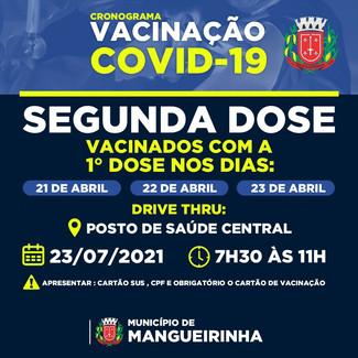 CRONOGRAMA DE VACINAÇÃO COVID-19 ⚠️💉 2ª dose para vacinados nos dias 21, 22 e 23 de Abril 💉