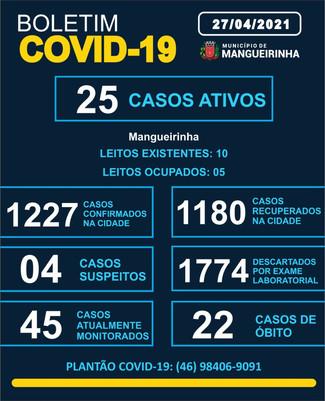 BOLETIM OFICIAL DO COVID-19 (27/04/2021)