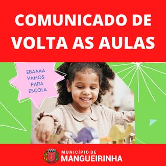 COMUNICADO DE VOLTA AS AULAS