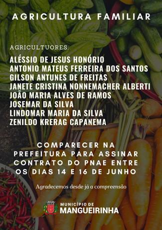 ATENÇÃO AOS PRODUTORES DO PNAE QUE DEVEM COMPARECER NA PREFEITURA ENTRE OS DIAS 14 A 16 DE JUNHO.