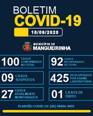 BOLETIM OFICIAL DO COVID-19 18/09/2020
