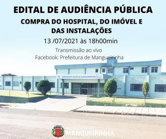 EDITAL DE AUDIÊNCIA PÚBLICA, COMPRA DO HOSPITAL, DO IMÓVEL E DAS INSTALAÇÕES.
