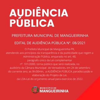 LOA 2022 - EDITAL DE AUDIÊNCIA PÚBLICA Nº. 08/2021