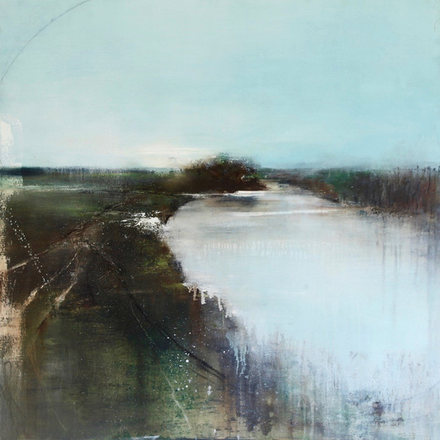 Where the Waters Meet 85x85cm framed