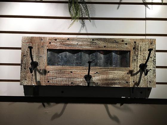 Rustic/Tin 3 Hook Rack