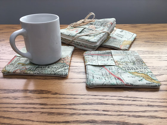 Map Fabric-Mug Rug or Coaster Set