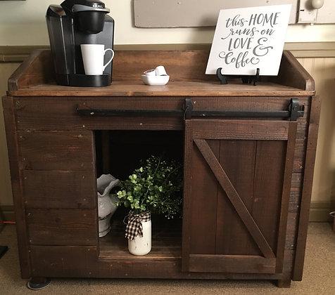 Dark Cedar Coffee Bar with sliding barn door