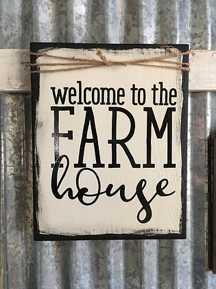 Welcome/Farm house plaque with twine embellishment
