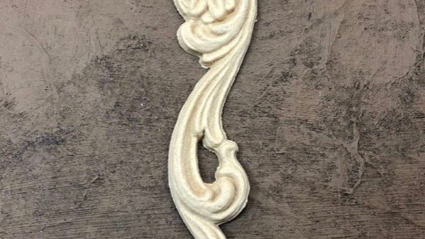 WoodUbend Right Scroll with flower code 0364 approx size 12.5x2.8cm