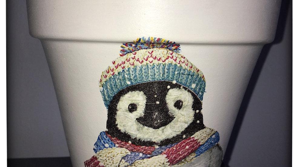 Winter Penguin plant pot