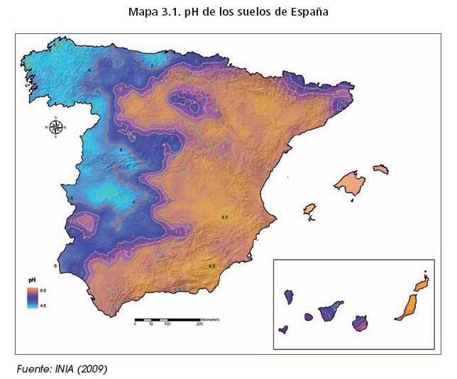 mapa ph suelos de españa