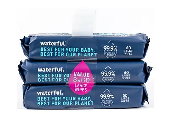 Waterful Plastfria Våtservetter 3x60st