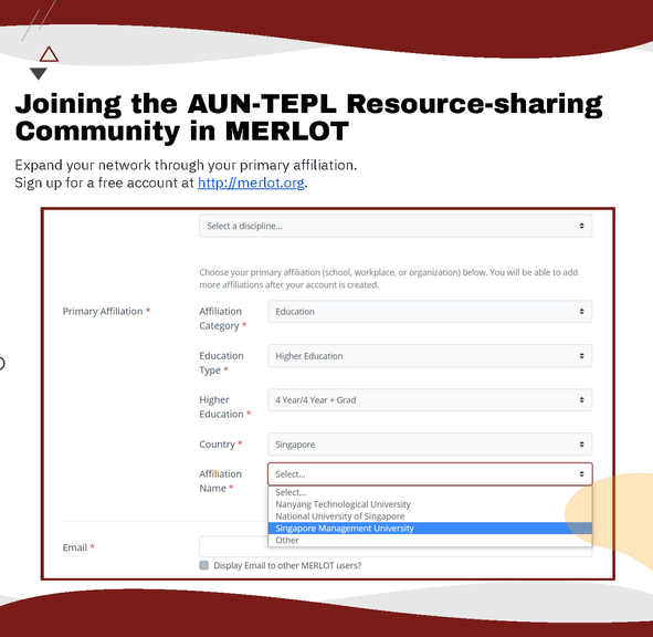 Joining the AUN-TEPL Resource-sharing Community in MERLOT