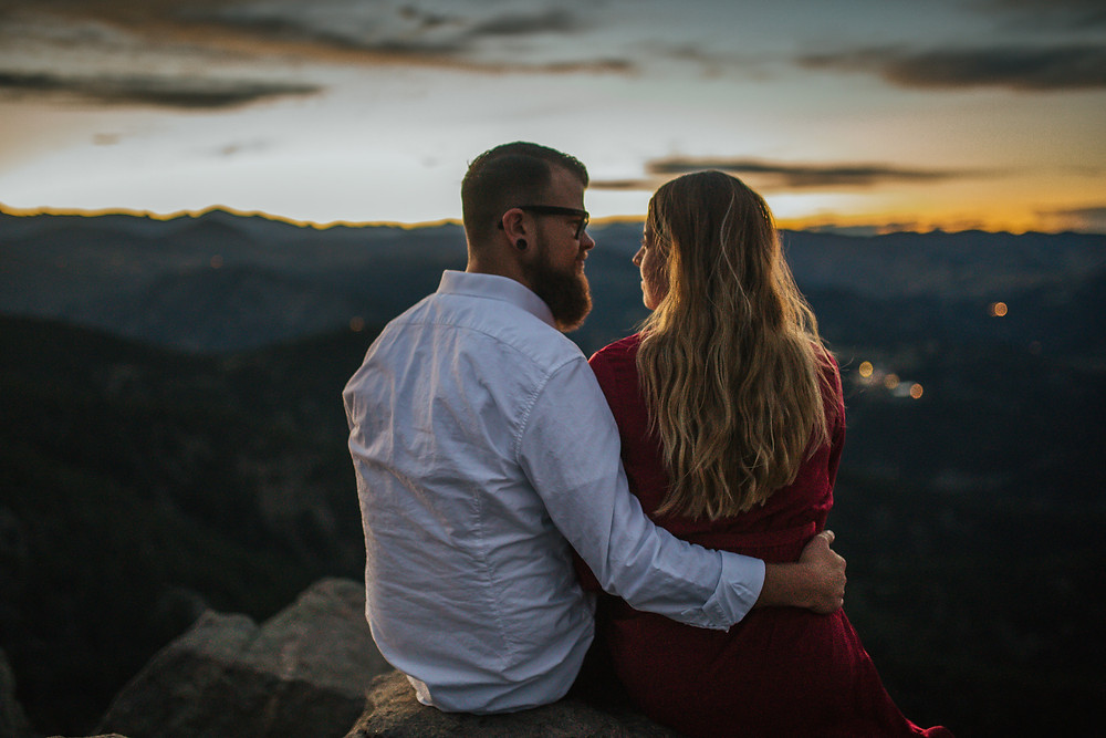 WeddingWire Ourkindoflove sponsored post blog Denver Colorado Denver blogger Colorado Blogger Ombre Bayalage Tall Skinny girl  Red dress Erin Witt Photography White dress shirt engagement photos boulder overlook sight seeing