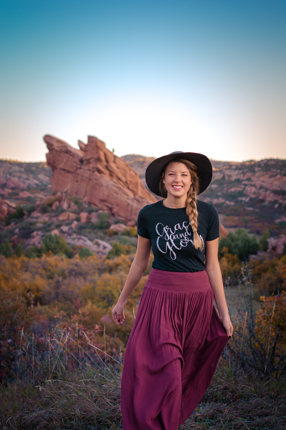 Holly Canon Travel and Lifestyle Blog Pinks Denver Pink Skirt Mauve and Kingdom at Heart Tee Grace and Glory Christian Tshirt