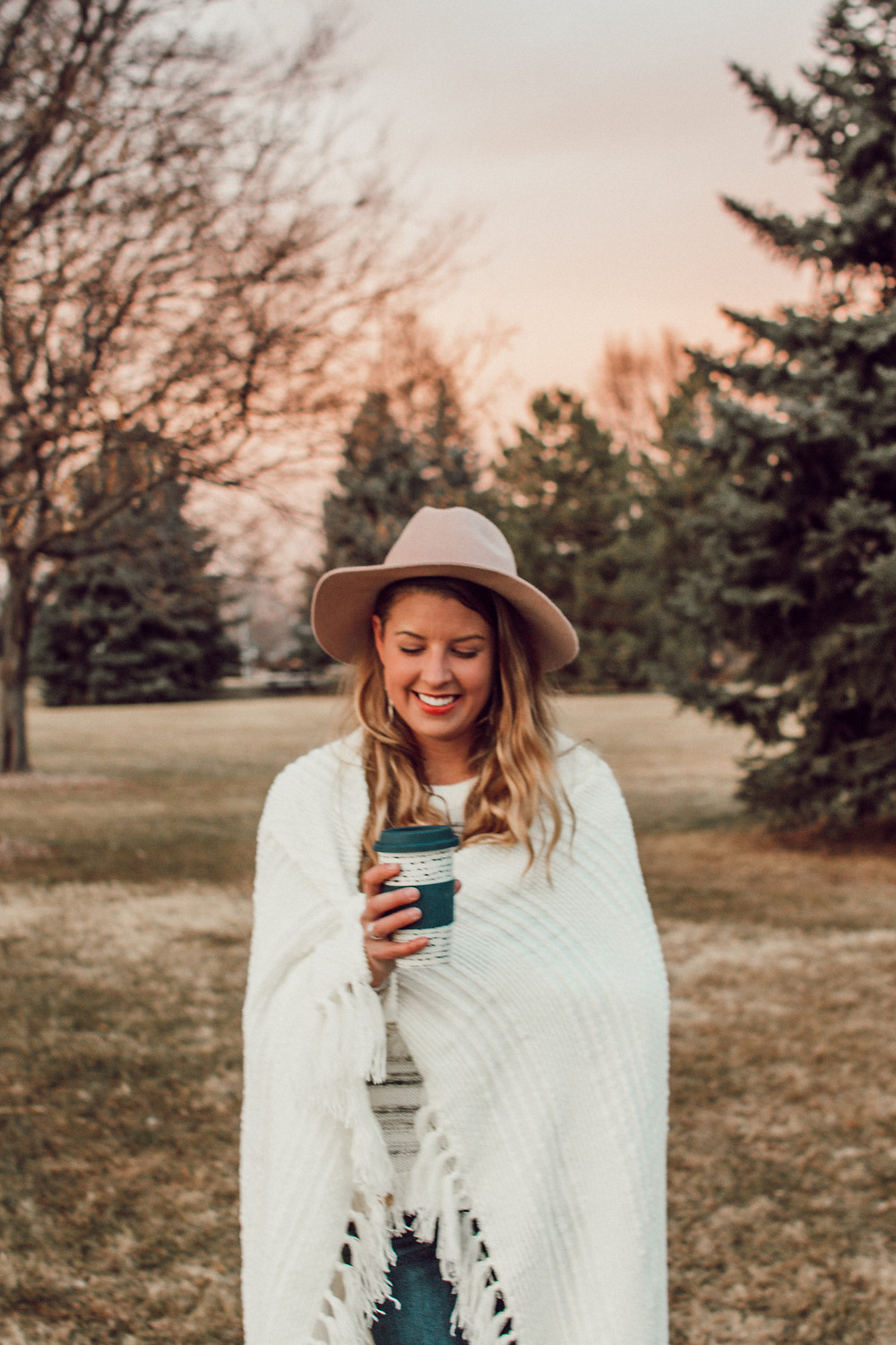 Holly Canon Travel and Lifestyle Style Blog Morning Routine Enjoyable 2 Erika Dash Photography Denver Colorado Photographer Blog Blogger Pink Hat White Blanket Colby June Jewelry Target Blonde Hair Big Smile Happy Girl Life Live Jesus Christian