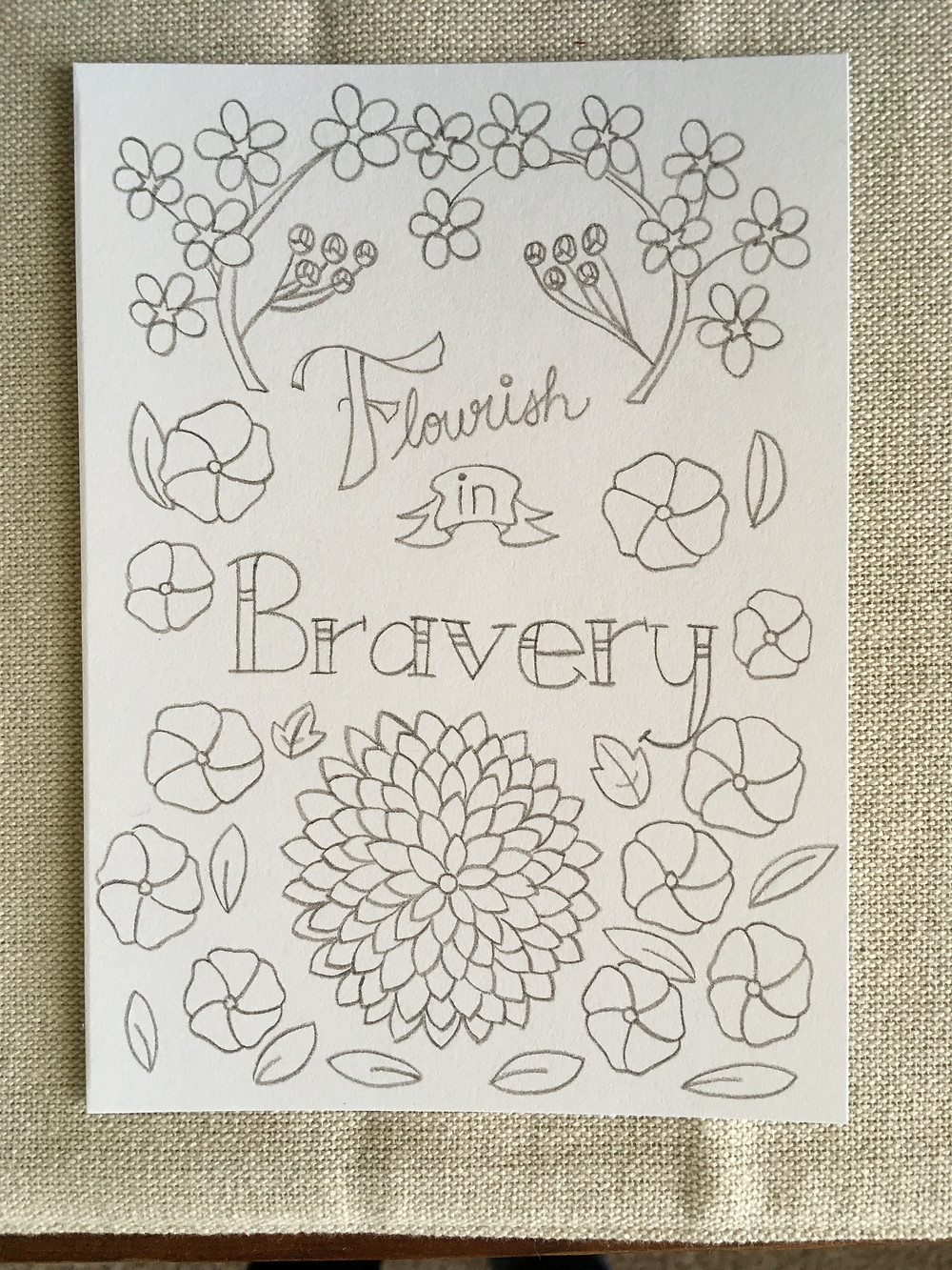 Flourish in Bravery Coloring Card by Stephanie Ascough
