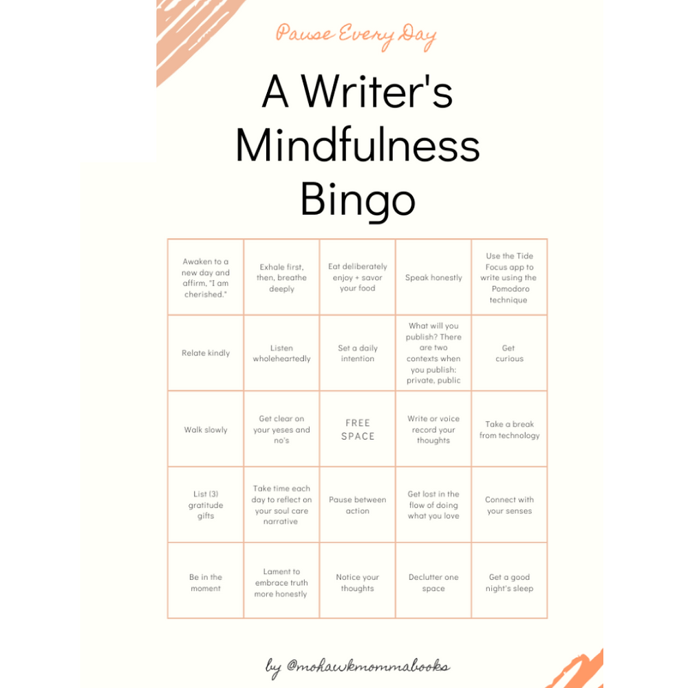 Download and Print A Writer's Mindfulness Bingo