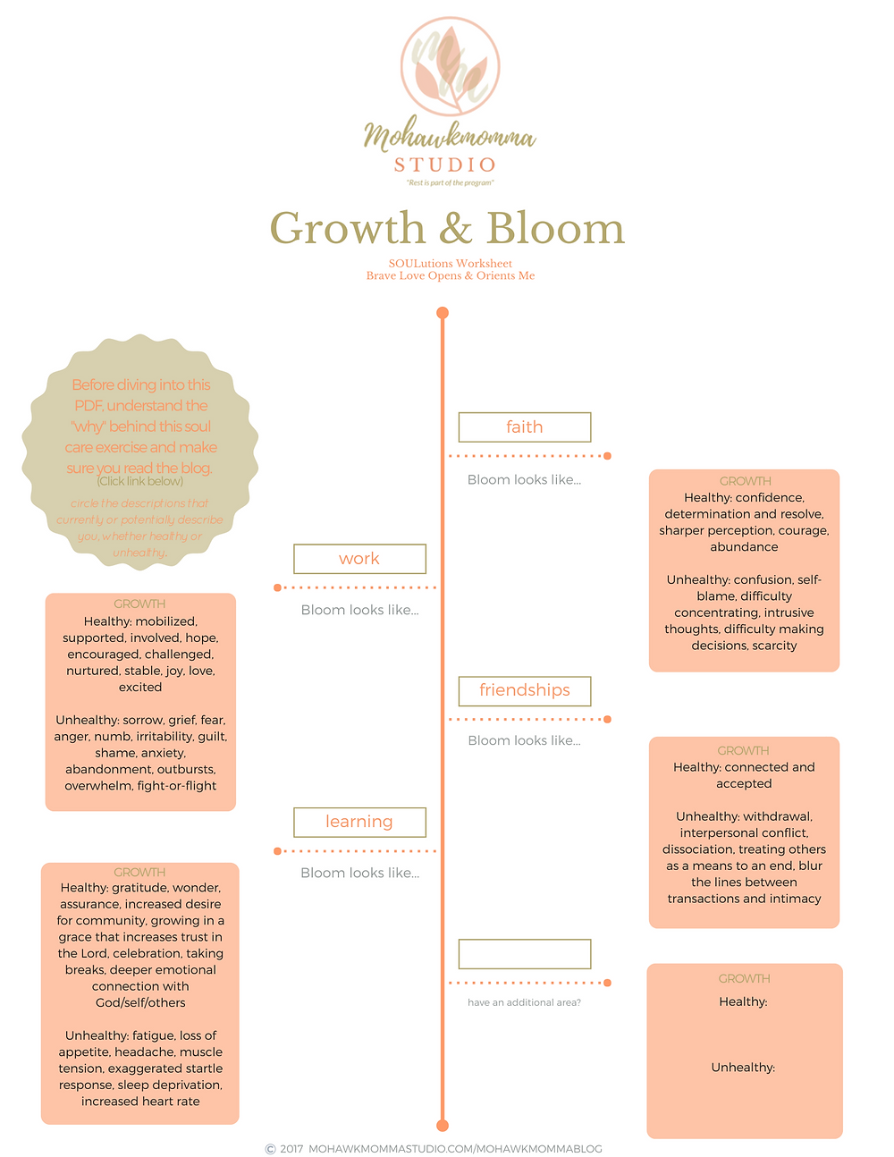 Growth & Bloom SOULutions Worksheet