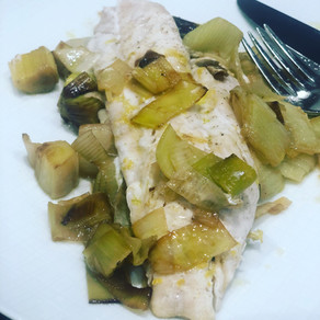 Oven Baked Fish with Lemon & Leeks