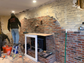 Getting the brick wall ready.