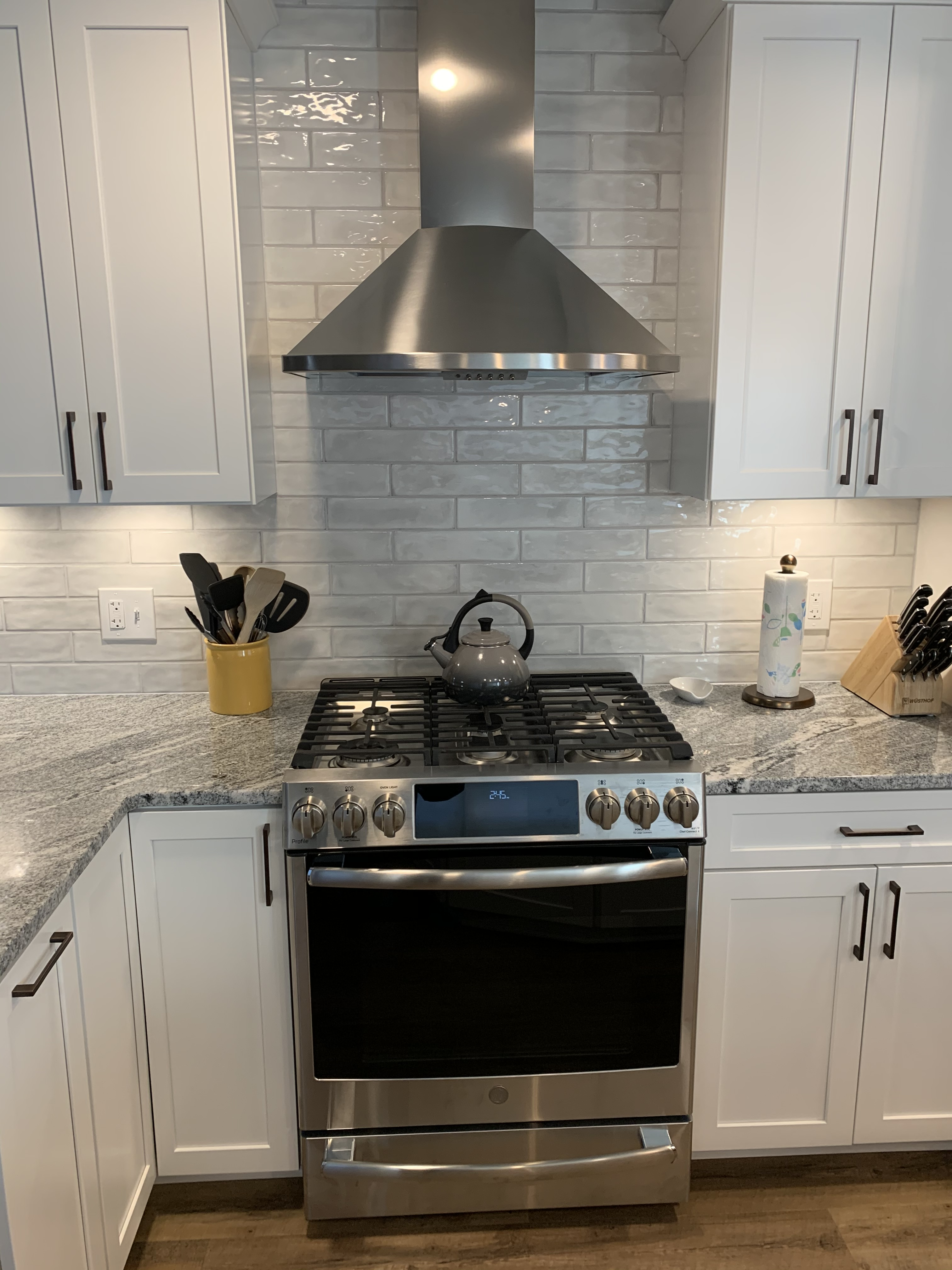 Backsplash and stove.
