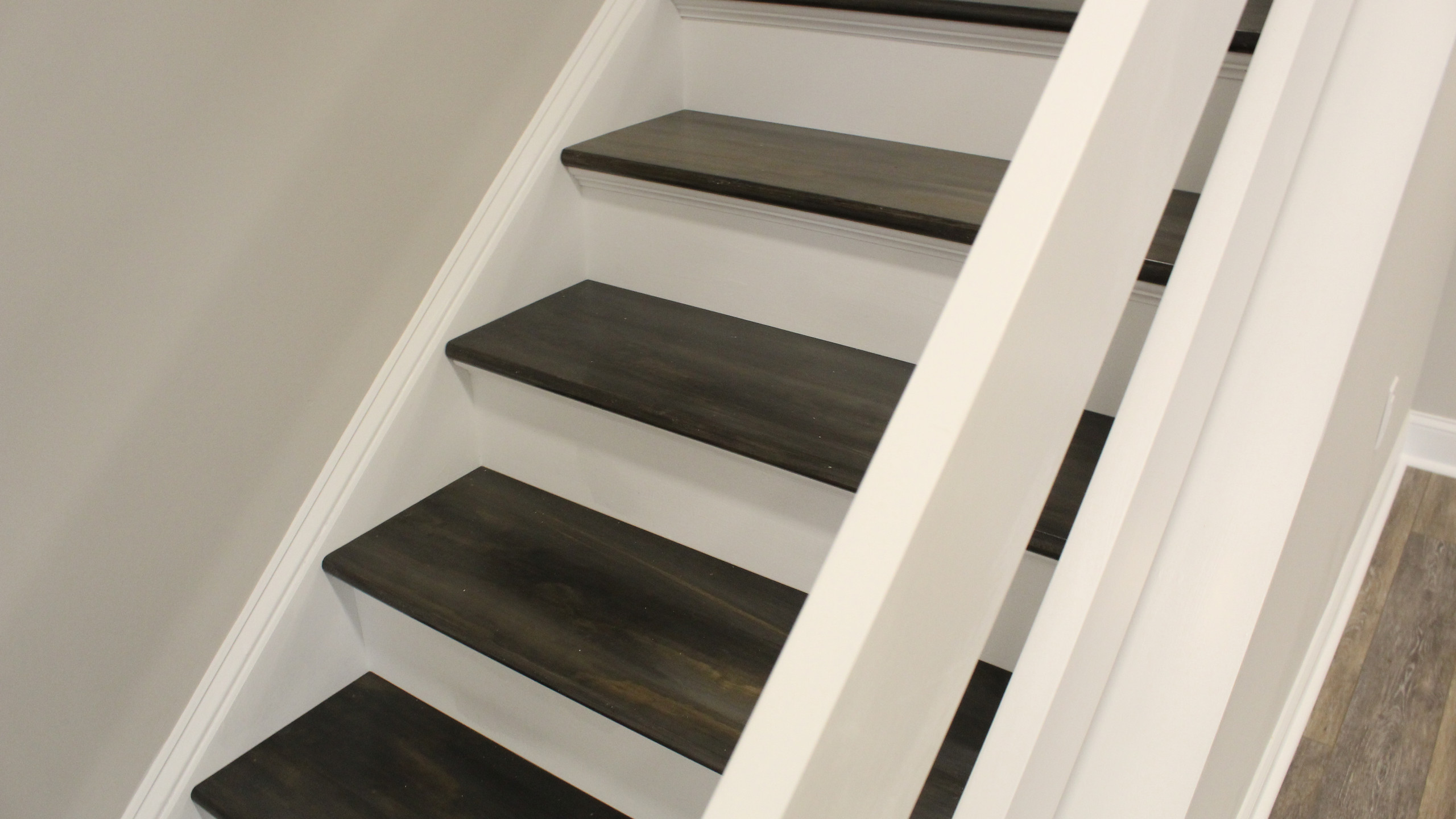 Custom stained stair treads